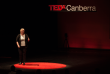 Artist, Dr Eleanor Gates-Stuart presenting at TEDXCanberra. Photograph by Adam Thomas